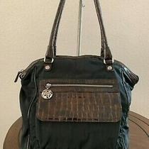 Vintage Brighton Medium Black Nylon Brown Patent Leather Tote Purse Shoulder Bag Photo