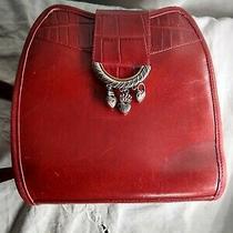 Vintage Brighton Red Leather Bucket Crossbody Purse Photo