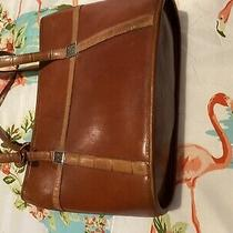 Vintage Brighton Tote Handbag Chestnut Brown Croc Trim Photo