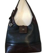 Vintage Brighton Two Toned Brown and Black Pebbled Leather Shoulder Bag Photo