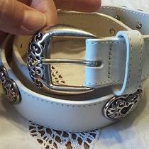 Vintage Brighton White Leather & Chrome Heart Belt Size Small Photo