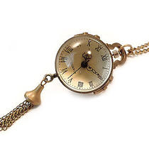 Vintage Bronze Ball Watch Necklace- Antique Globe Clock Jewellery-Gold Jewelry Photo