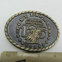 Vintage Bronze Pony Express 125th Anniversary Limited Buckle Source Belt Buckle  Photo