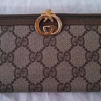 Vintage Brown Large Gucci Wallet With Monogrammed Leather With Serial No. Photo
