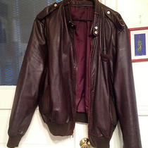 Vintage Brown Leather Bomber Jacket Mens M Photo