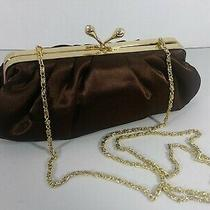 Vintage Brown Satin Clutch Gold Chain Strap Jessica Mcclintock Photo