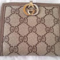 Vintage Brown Small Gucci Wallet With Monogrammed Leather With Serial No. & Card Photo