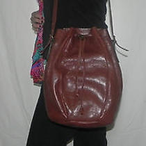 Vintage Bucket Bag Tuscan Brown Leather Made Exclusively for Ivey's Mint Clean  Photo