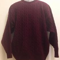 Vintage Burberry Burberrys Medium Burgundy Wool Cable Knit Crewneck Sweater Photo