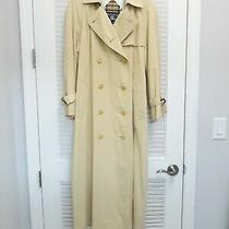 Vintage Burberry Double Breasted Long Trench Rain Coat Women's Size 4 Yellow Photo