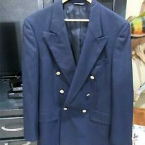 Vintage Burberry Navy Blue Wool Double Breasted Blazer  Size 42 Photo