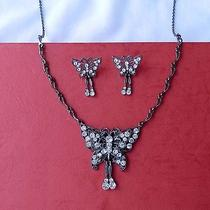 Vintage Butterfly Necklace & Earrings Set Clear Swarovski Crystal N1247 Photo