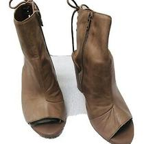 Vintage by Jeffrey Campbell Lace Up Peep Toe Booties Heels Size 5 Tan Photo