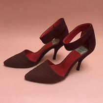 Vintage by Jeffrey Campbell Maroon Cranberry Leather Suede Heels Shoes Pumps Sz9 Photo
