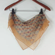 Vintage Cacharel Silk Scarf - Mocha Tan Burgundy Blue Plaid - Square Scarf Photo