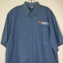 Vintage Campbell Hausfeld Built to Last Port and Company Xl Blue Denim Men Shirt Photo