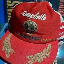 Vintage Campbell's Soup Snapback Trucker Hat Three Stripe Mesh Patch Cap Usa Photo