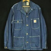 Vintage Carhartt Blue Denim Un-Lined Patch Pocket Chore Coat Large Usa Photo