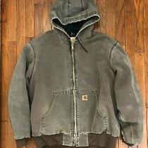 Vintage Carhartt Jacket Chocolate Brown Hood  Faded Distressed - Xl Photo