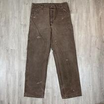 Vintage Carhartt Usa Made Distressed Duck Canvas Brown Work Pants Size 38 X 36 Photo