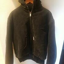 Vintage Carhartt Work Jacket Women's Medium Black Denim Hooded Insulated Euc Photo