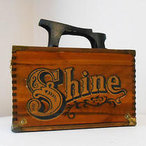 Vintage Carnival Shoe Shine Wooden Box Chaz for Men Cast Iron Foot Rest Dovetail Photo