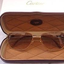 Vintage Cartier Louis Courcelles 57mm Sunglasses France Gold Heavy Plated Photo
