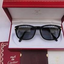 Vintage Cartier Sunset Black 18k Gold Plated 57mm France 1991 Sunglasses Photo