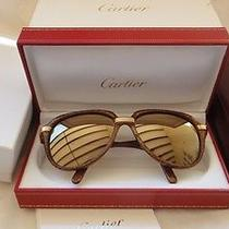 Vintage Cartier Vitesse Big Brown Jaspe 60mm Sunglasses France 18k Gold Plated Photo