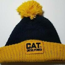 Vintage Cat Diesel Power Big Patch Yellow Knit Winter Hat Advertising Men's  Photo