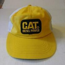 Vintage Cat Diesel Power Mesh Trucker Farmer Hat Cap Usa Made Photo