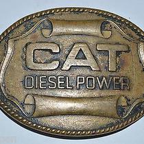 Vintage Caterpillar Cat 1982 Diesel Power Construction Brass Belt Buckle Rare Photo