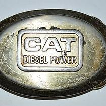 Vintage Caterpillar Cat Diesel Power Construction Chrome Metal Belt Buckle Rare Photo