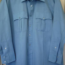 Vintage Century 21 Comfort in Action Blue Military-Style Wrinkle-Free Shirt Usa Photo