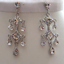 Vintage Chandelier Earrings Bridal Swarovski Earrings E2225 Photo