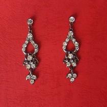 Vintage Chandelier Earrings Clear Swarovski Black Tone 1052 Photo