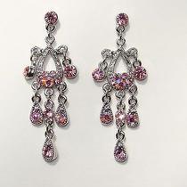 Vintage Chandelier Earrings Lt Amethyst Swarovski Crystal E2198b Photo