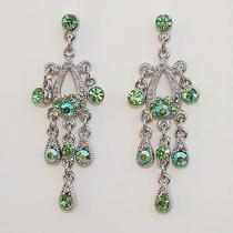 Vintage Chandelier Earrings Lt Peridot Swarovski Crystal E2198c Photo