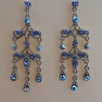 Vintage Chandelier Earrings Lt Sapphire Swarovski Crystal 2191a Photo