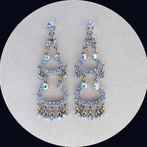 Vintage Chandelier Earrings Lt Sapphire Swarovski Crystal E2118a Photo