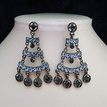 Vintage Chandelier Earrings Sapphire Swarovski Crystals   E2178 Photo