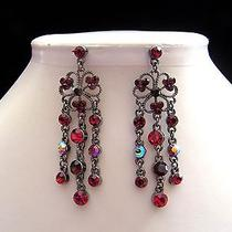 Vintage Chandelier Earrings Siam Swarovski Crystal Bridal Earrings E2101 Photo