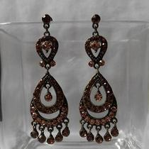 Vintage Chandelier Earrings Topaz Swarovski Crystal Earrings E2235 Photo