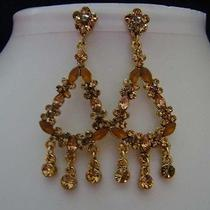 Vintage Chandelier Earrings Topaz Swarovski E215 Photo