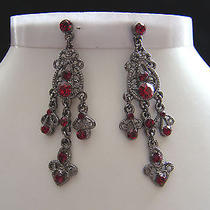 Vintage Chandelier Earrings With Siam Swarovski Crystal E2155b Photo