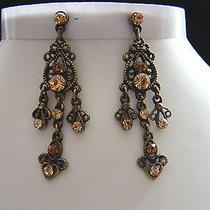 Vintage Chandelier Earrings With Topaz Swarovski Crystal E2155 Photo