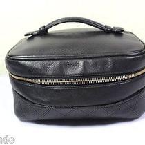 Vintage Chanel Black Leather Vanity Cosmetic Handbag Tote Bag Case Italy Photo