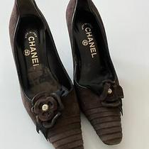 Vintage Chanel Brown Suede Leather Pointy Pumps W/ Gold