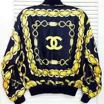 Vintage Chanel Chain Print Silk Bomber Jacket - Mint - Free Shipping Photo