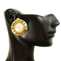 - Vintage Chanel Clip on Earrings - Gold Pearl Logo Auth Exlnt Photo